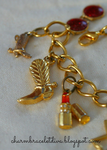 Cowboy boots and lipstick charms on vintage Texas charm bracelet