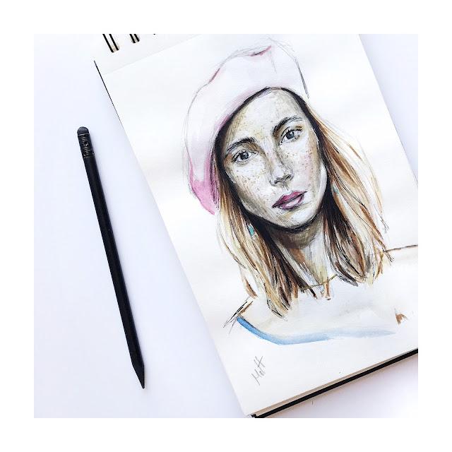 frecklesnur sketch illustration portrail
