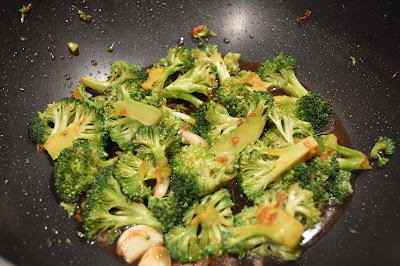 Stir frying Broccoli