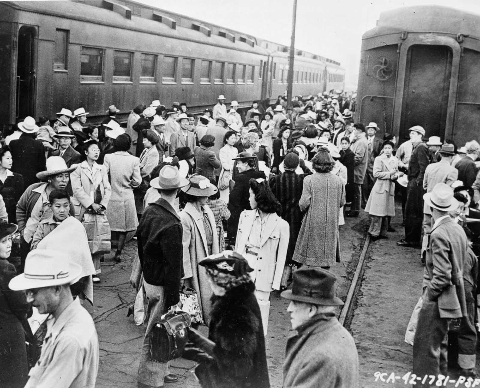 Evacuees assemble at a Los Angeles railroad station.