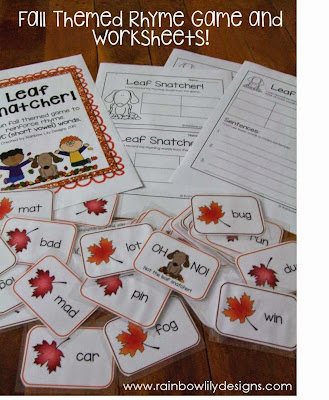 Fall themed game and worksheets www.rainbowlilydesigns.com