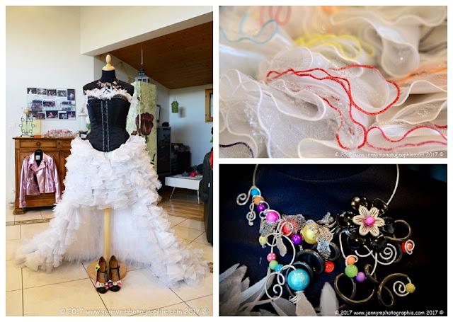 photos robe de la mariée et collier de la mariée, robe originale mariage
