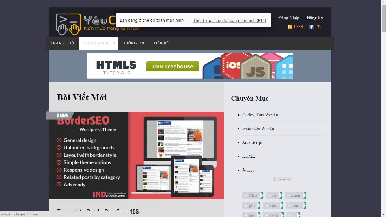 Share TEMPLATE Wapka - YeuCode Ver1.0 Giao Diện BLOG Đẹp