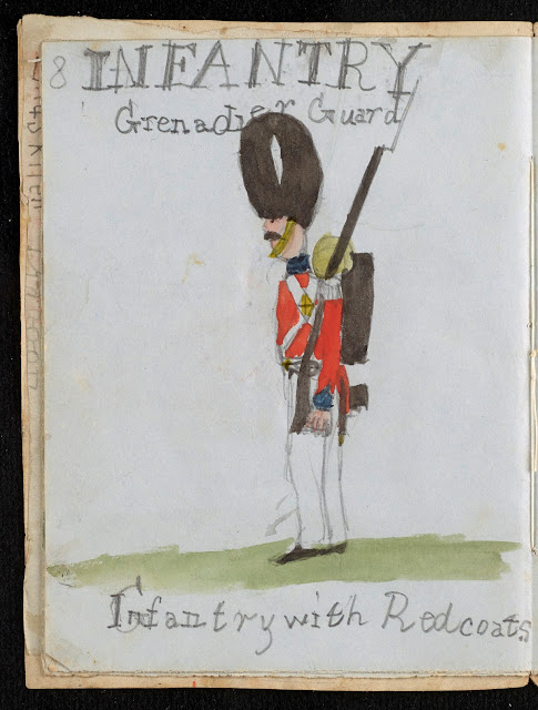 The British infantry Grenadier Guard Redcoat by George Howard Darwin. Doodle on Origin of a Species manuscript made by Charles Darwin's children. Illustrated By . . . marchmatron.com