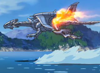 El jet del dragon blanco de ojos azules en todo su esplendor,volando sobre un gran lago