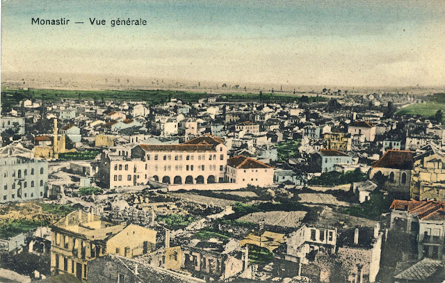 Panorama of Bitola from Yeni Mosque in 1917. Consequences of the bombing are visible everywhere. The building of the Workers' University in the middle of the picture looks the least damaged, but all the surrounding houses on Ruzveltova and the Main Street are totally destroyed. The building of today's Post Office is also without roof as houses in the foreground of this postcard.