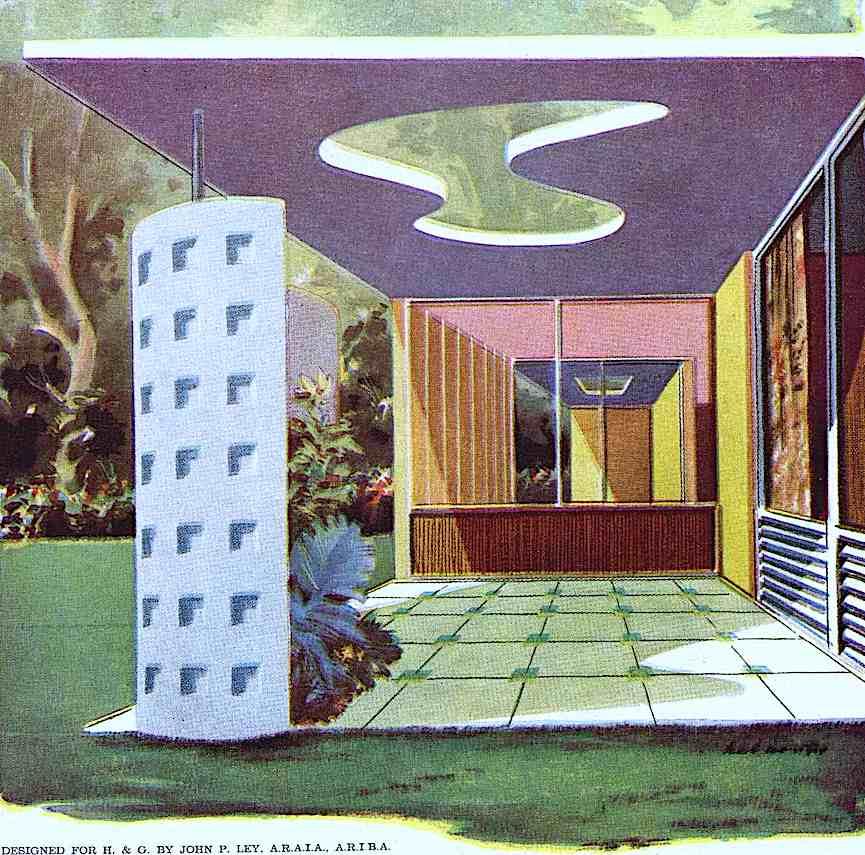 a color illustration of a 1957 patio sun hole