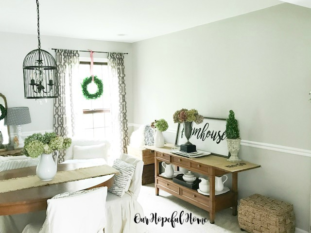 modern farmhouse dining room bird cage chandelier buffet dried hydrangeas trophy ironstone