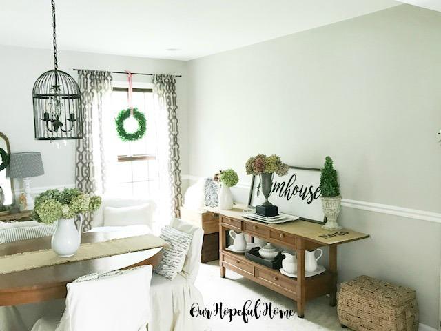 modern farmhouse dining room bird cage chandelier buffet dried hydrangeas trophy ironstone
