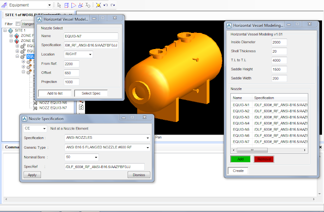 PDMS Model Macro to Create Horizontal Vessel