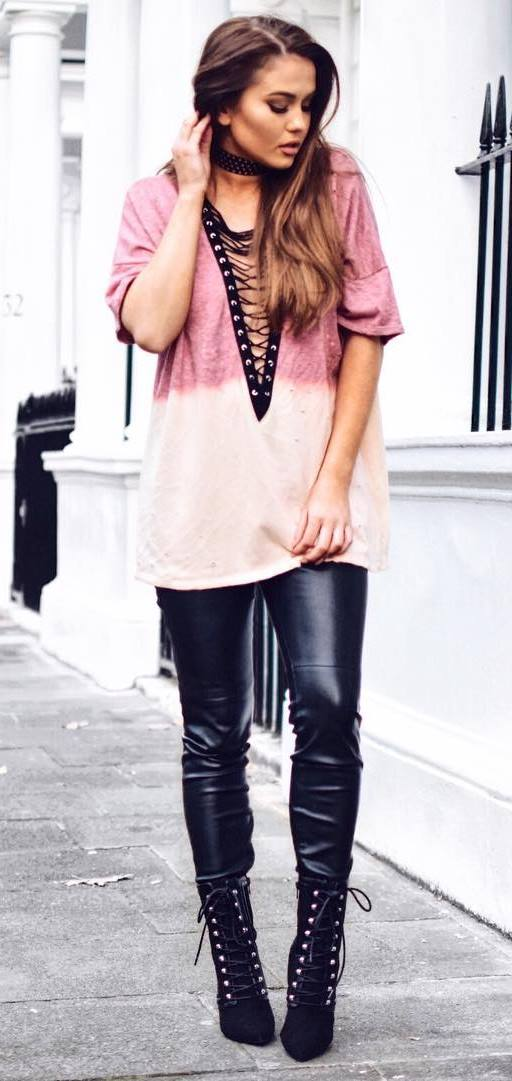 long t-shirt + leather skinnies + heels