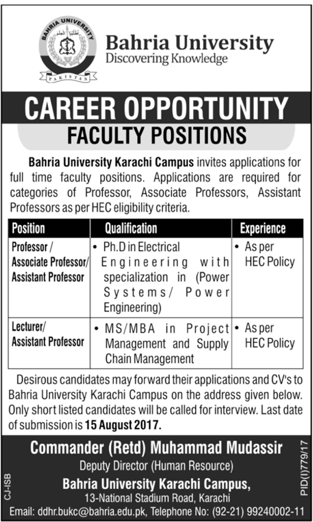 Jobs In Bahria University Karachi Aug 2017