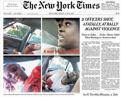 Diamond Reynolds - survivor, citizen journalist, N.Y. Times page 1, July 8, 2016