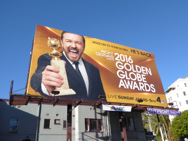 Ricky Gervais 2016 Golden Globes billboard