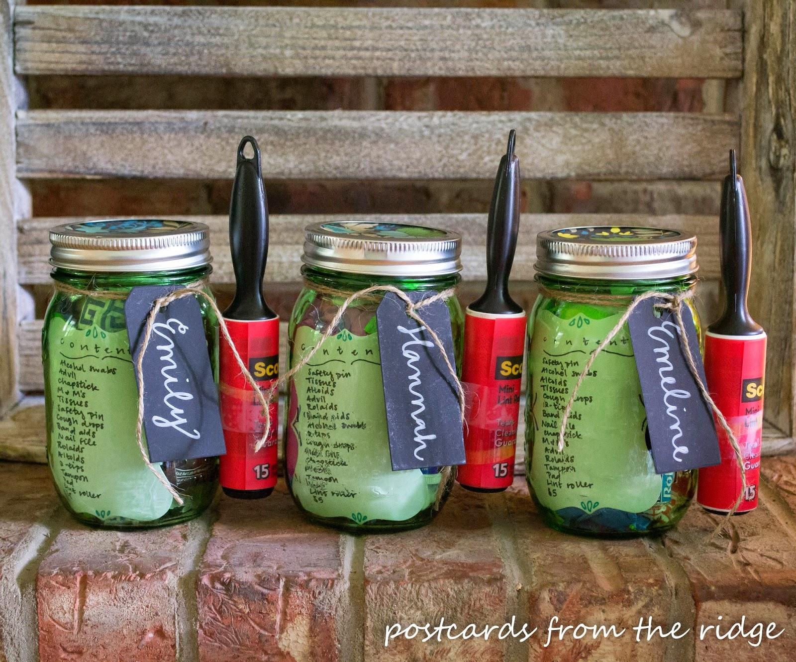 green mason jar survival kits