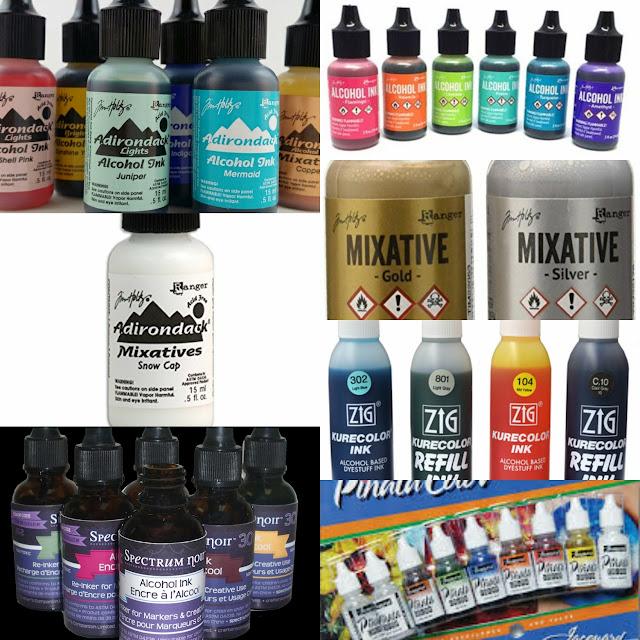 alcohol inks, ranger adirondack ink, jacquard pinata ink, kuretake zig kurecolor ink