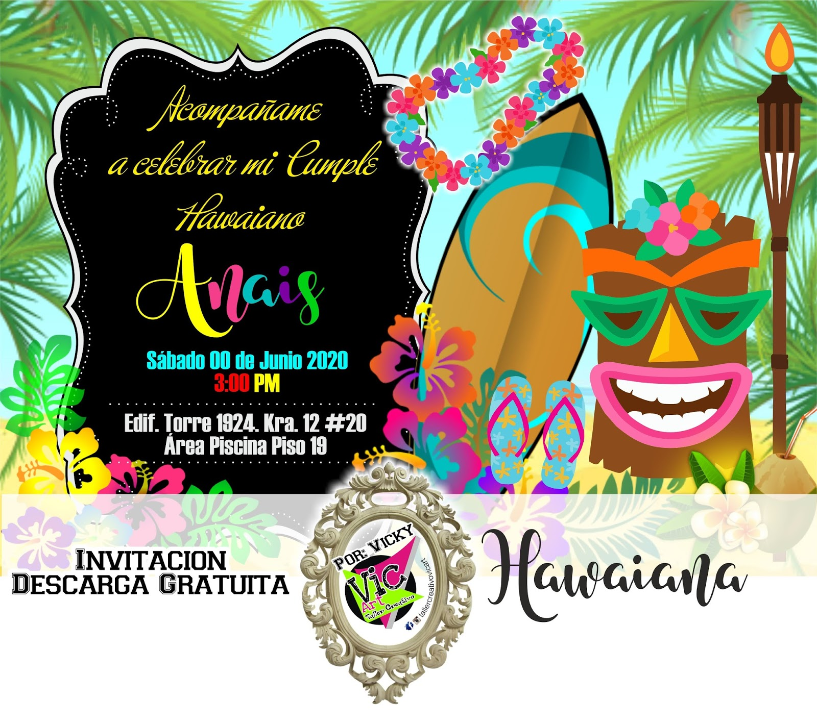 Taller Creativo Vic Art Invitacion Hawaiana Jpg