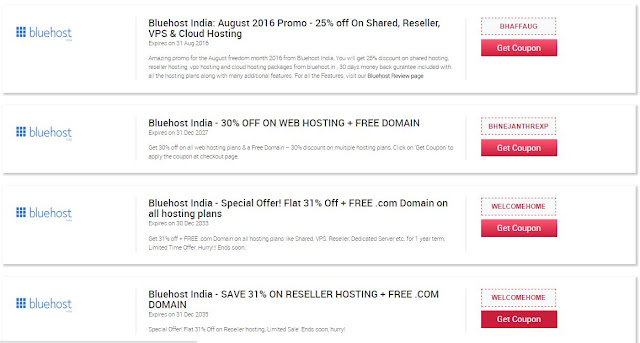 bluehost india coupon codes
