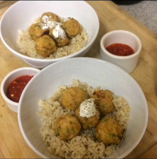 BabyBakes: Asian Chicken Meatballs with Brown Rice