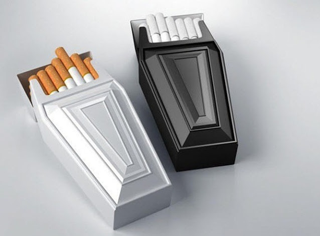 embalagem criativa de cigarro em formato de caixão
