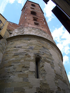 The unusual campanile at the church of  Pieve di San Lorenzo