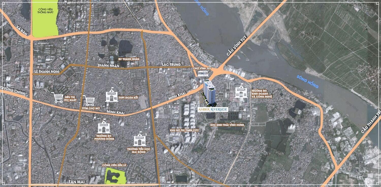 Vị trí đắc địa của dự án Amber Riverside 622 Minh Khai
