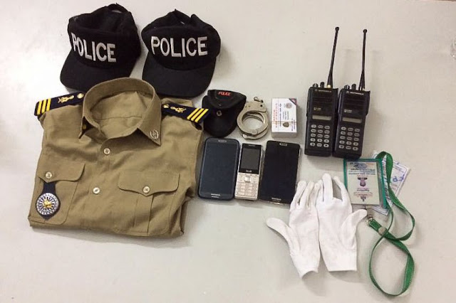 The uniform and equipment used by a journalist when he impersonated a police officer were found when the man was arrested. Photo supplied.