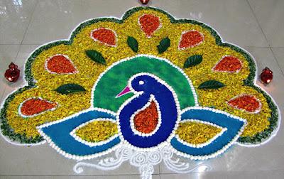 Rangoli Designs, Diwali Rangoli, Rangoli Design,  Peacock Rangoli Designs