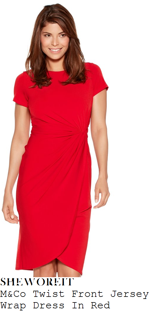 susanna-reid-m-and-co-red-gathered-twist-front-jersey-wrap-dress