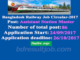 Bangladesh Railway Assistant Station Master Job Circular 2017