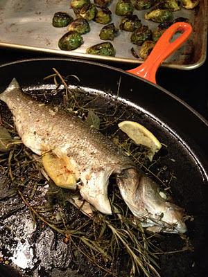 Fatback And Foie Gras Herb Roasted Branzino With Garlic