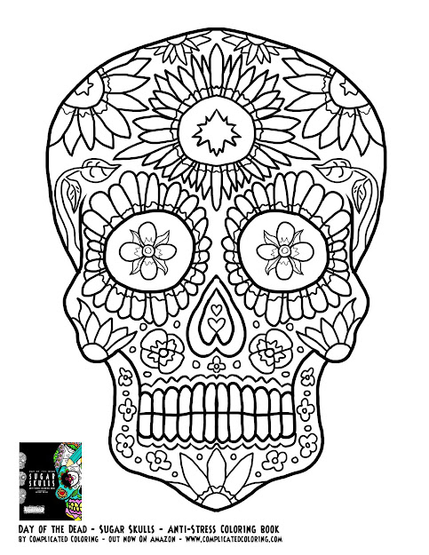 Day Of The Dead Sugar Skulls Plicated Coloring Free Adult