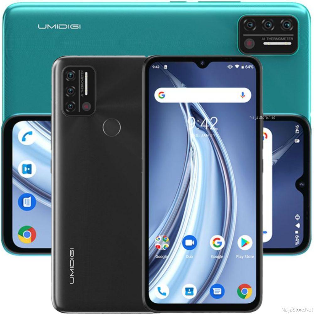 UMIDIGI A9 Smartphone - Specs: Android 11, 5150mAh Battery, Helio G25, 6.53-Inch, 64GB/3GB Memory, 4G Dual SIM, 4Cam, Temperature Sensor..