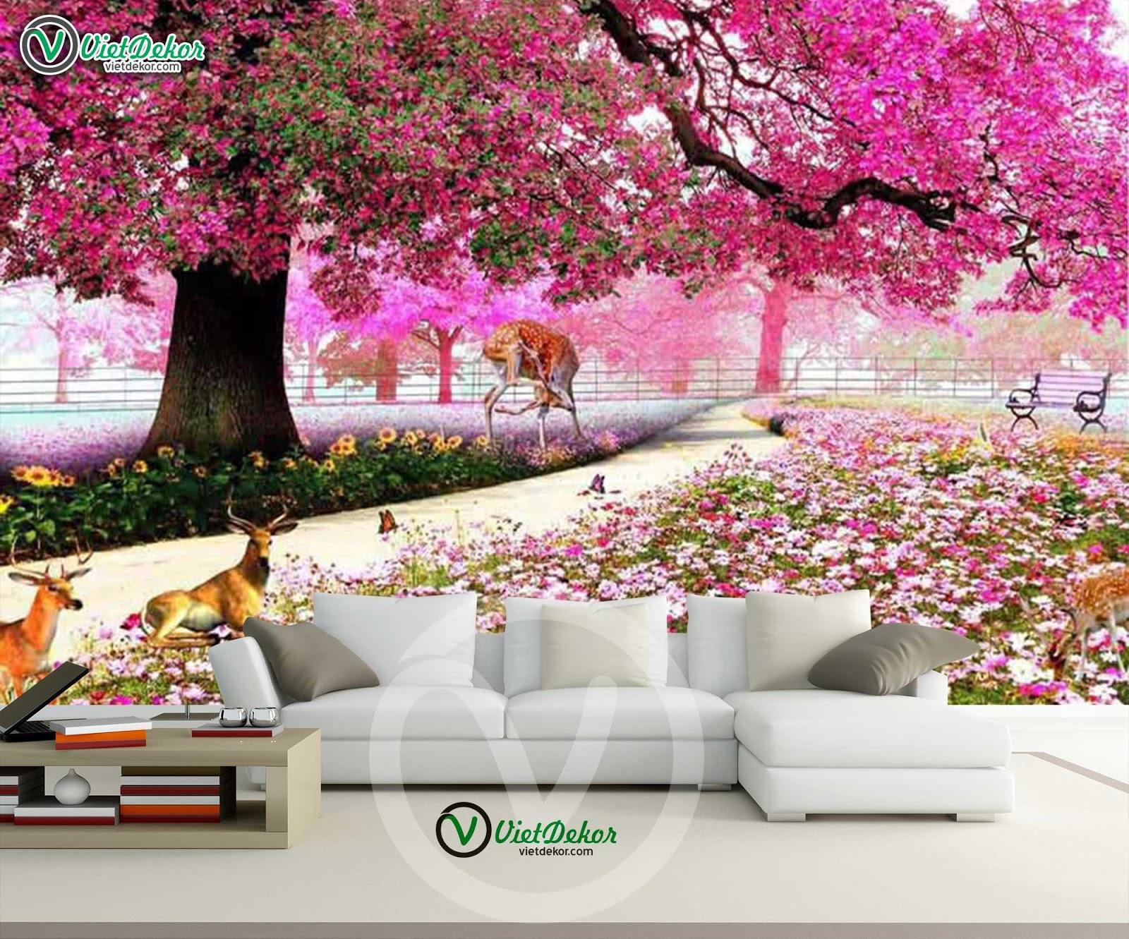 Tranh dán tường phong cảnh cho phòng khách đẹp lung linh