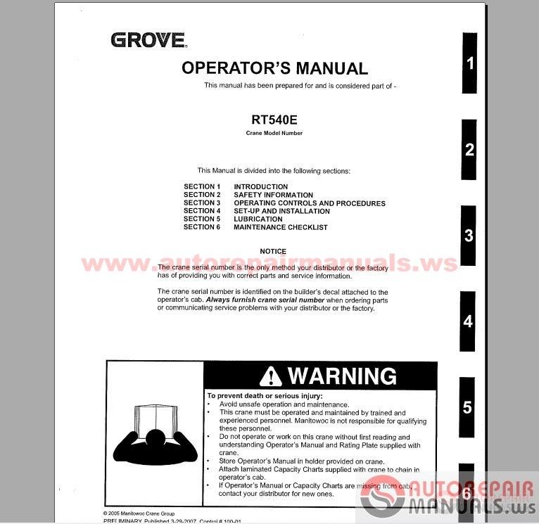 Free Auto Repair Manual   Grove Crane All Service Manual