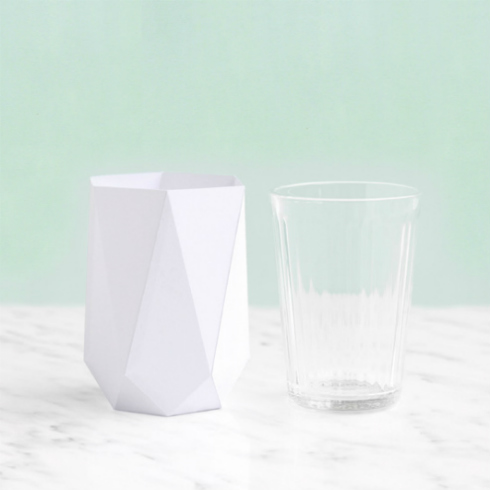 Folded Paper Vase and Water Glass