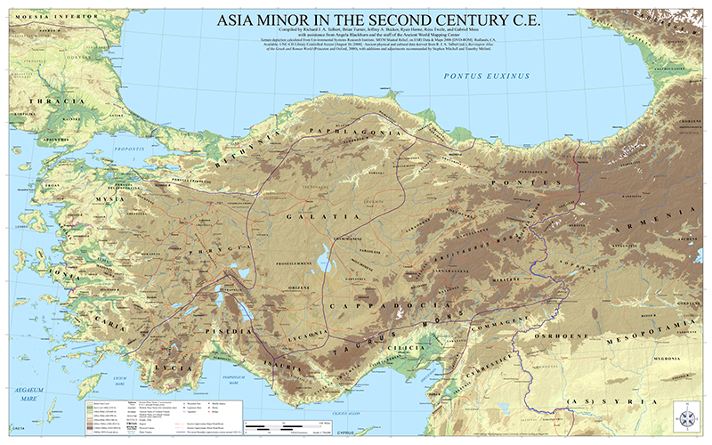 Bibleplaces blog free asia minor wall map the map is noteworthy because the ancient world mapping center has reconstructed the ancient coastline most notable at places such as miletus ephesus gumiabroncs