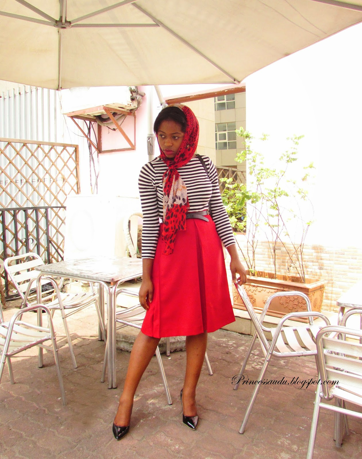 stripes, basics, leopard print, scarf, head-tie, red midi skirt, black pumps