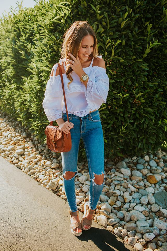 Summer Uniform - a pretty white top with distressed denim