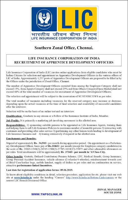 LIC Chennai Zone Apprentice Development Officers Recruitment 2019