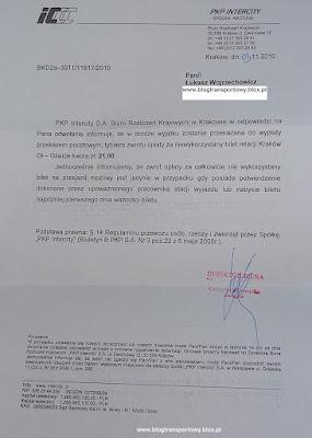 Pismo od PKP Intercity