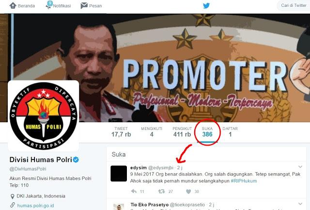 Waduh! Twit Ahoker yang tak Terima Vonis Hakim Malah di-Like oleh DivHumasPolri, Netizen pun Geger!