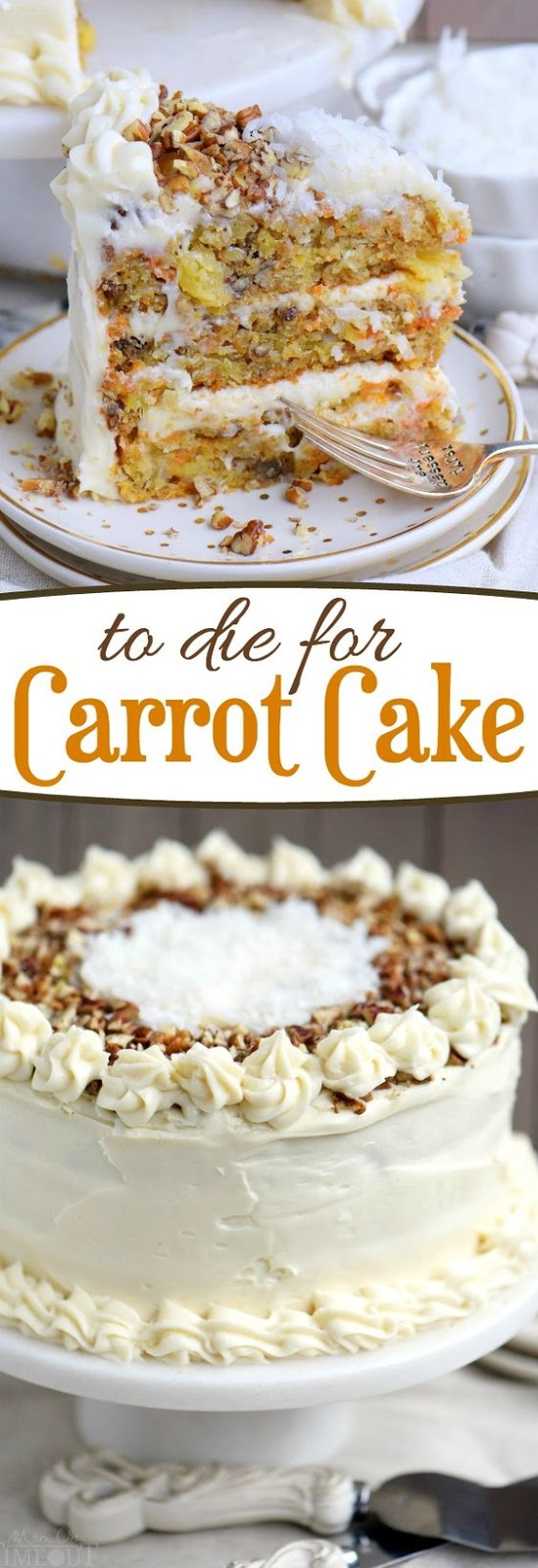 The BEST Carrot Cake you'll ever try! So easy to make and as an added bonus, there's no oil or butter! This To Die For Carrot Cake receives rave reviews for it's unbelievable moistness and flavor! I know this cake will quickly become a family favorite! // Mom On Timeout #carrot #cake #recipe #best #carrotcake #pineapple #applesauce #dessert #cakes #Easter #cake #recipe #baking #sweets #carrots #pecans #creamcheese #frosting #nooil #nobutter