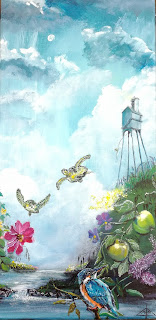 art for sale, art, kunst, maleri, eventyr, fairytale, turtles, colorful, apple, farverig, kunst til salg, interior, interiør, skildpader, isfugl, kingfisher, kunstner, artist, gallery, galleri