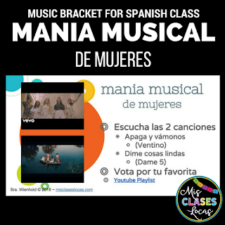 Music Bracket - mania musical de mujeres -Women's History Month in Spanish class