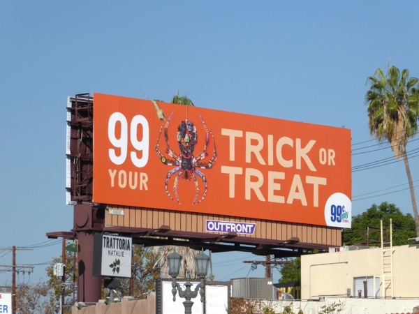 99c Trick Treat Halloween spider billboard