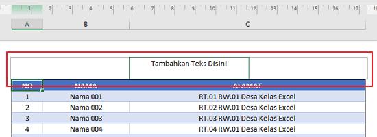 Cara Menambahkan Header di Excel