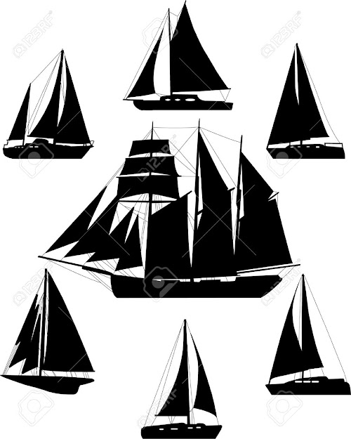 Sailing Boat Silhouettes  Vector Stock Vector