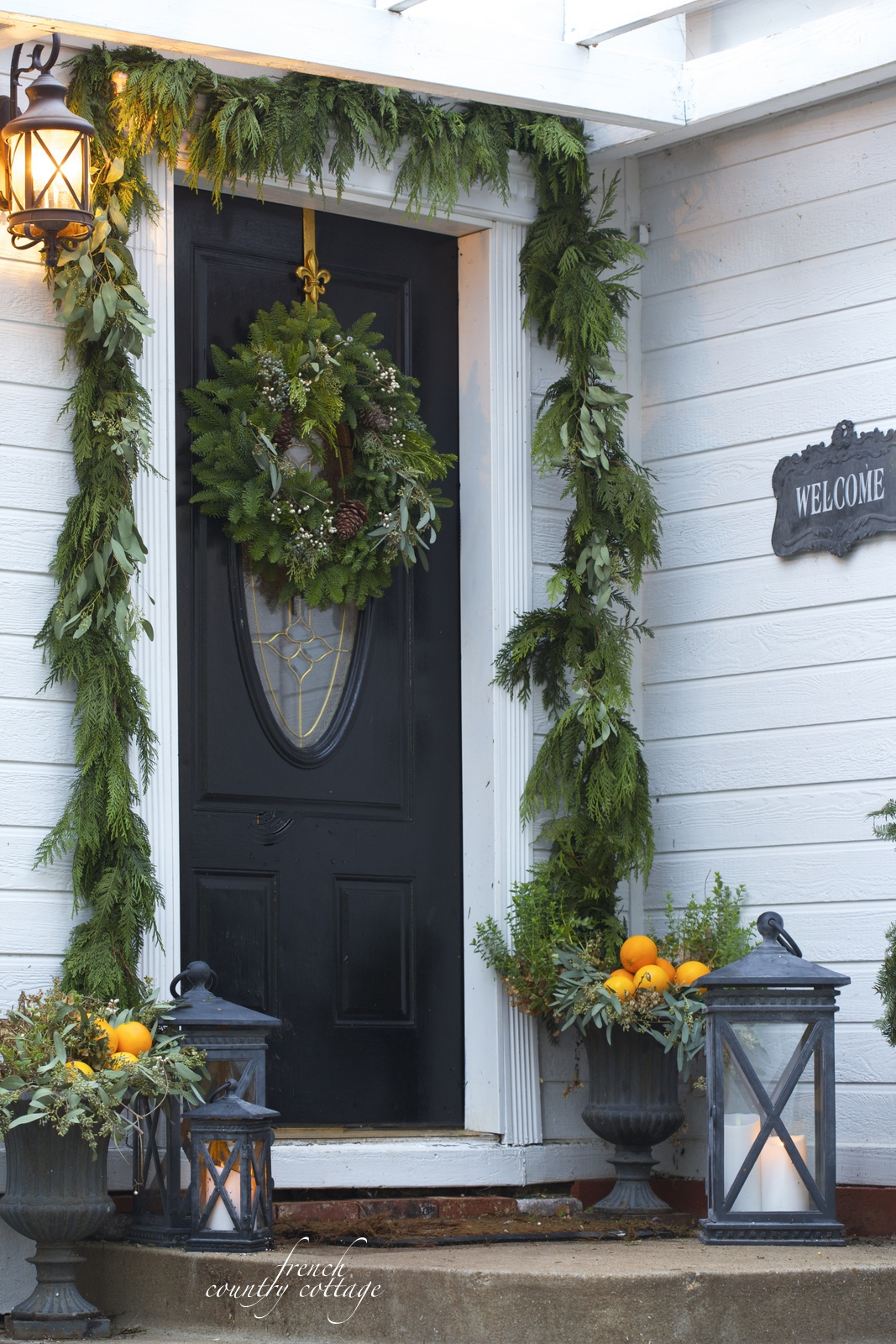 french country cottage christmas home holiday decorating front door decor - French Country Christmas Decor