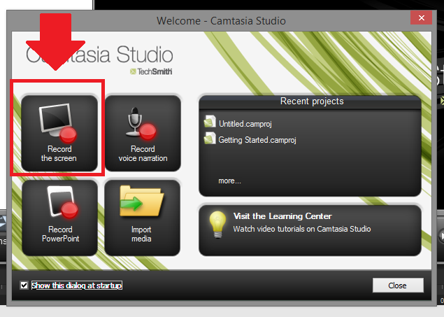 tampilan jendela welcome cantasia studio